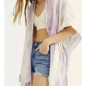 NEW Free People Delfina Tie Dye Kimono Purple O/S